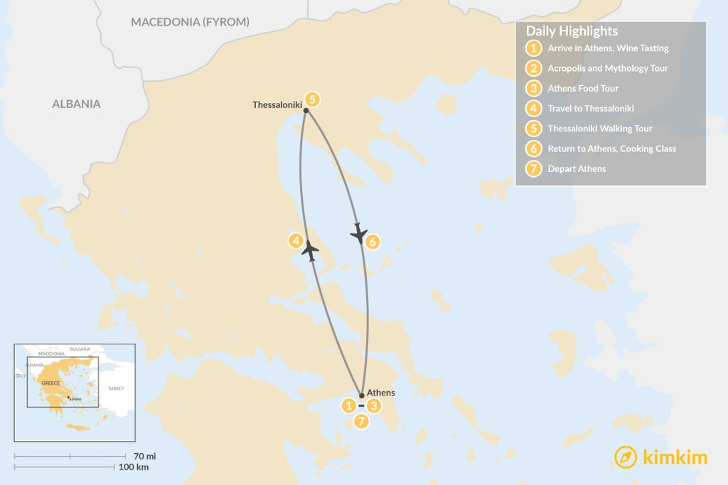Map of Urban Adventures and History in  Athens & Thessaloniki - 7 Days