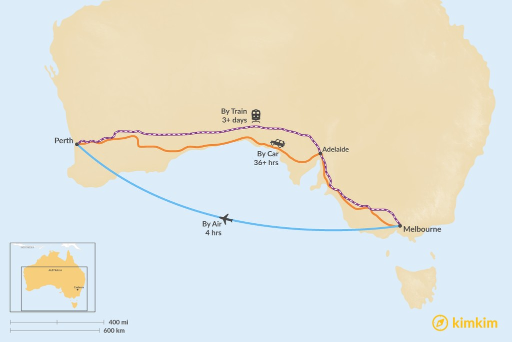 Map of How to Get from Melbourne to Perth