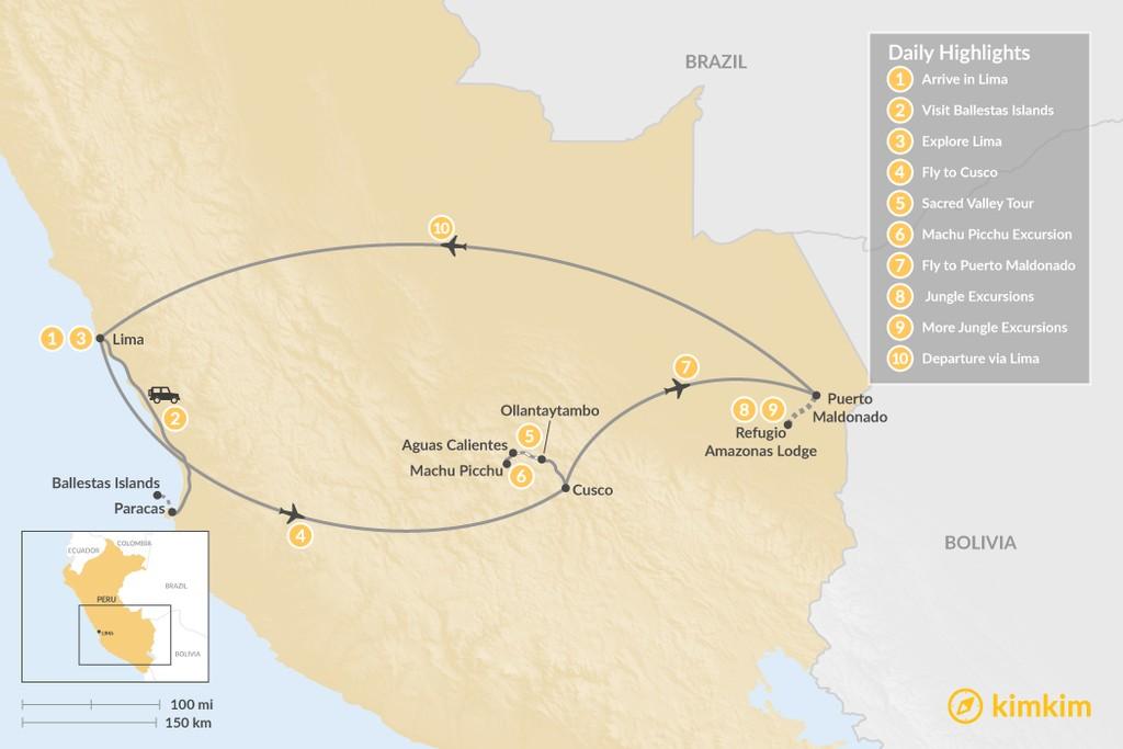 Map of Peruvian History & Wildlife - 10 Days