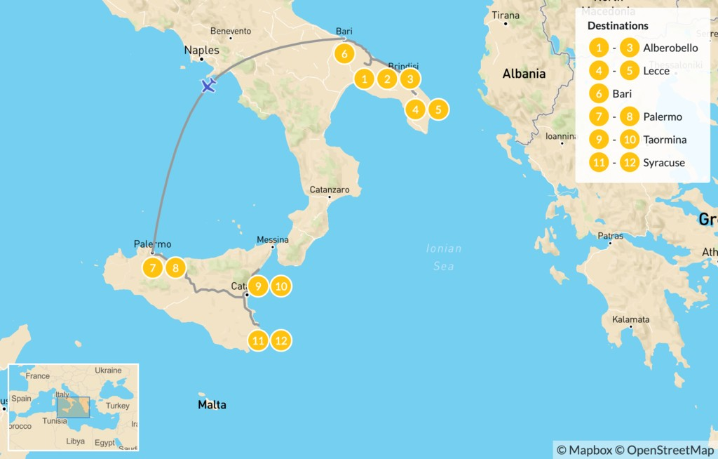 Map of Puglia & Sicily Highlights - 13 Days