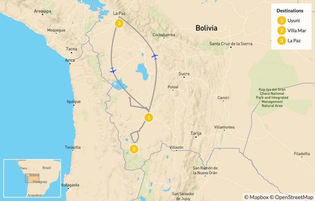 Map of Uyuni Salt Flats - 3 Days