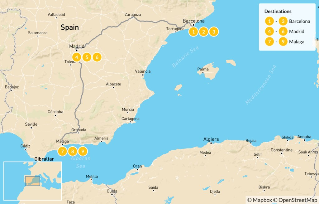 Map of Ultimate Food, Culture & Wine Tour of Spain - 10 days