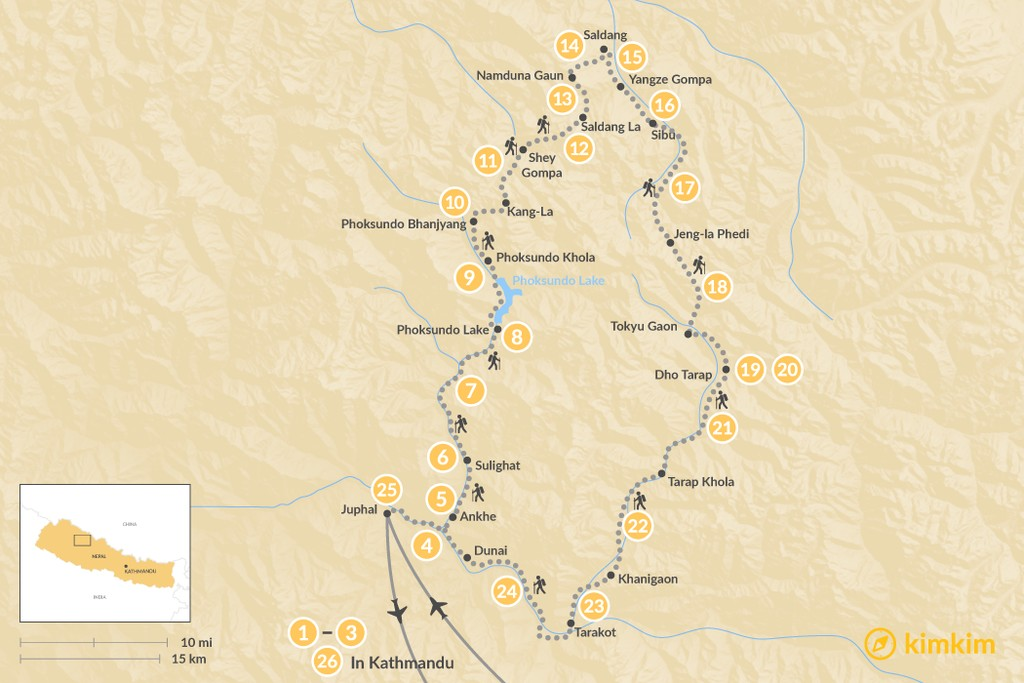 Map of Upper Dolpo Trek - 8-27 Days