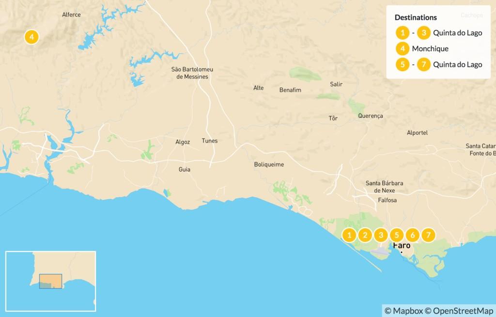 Map of Luxury Wellness Escape in Algarve - 8 Days