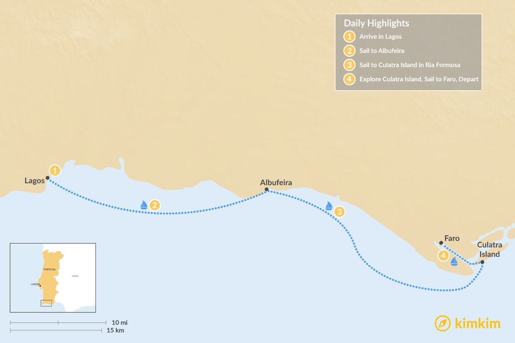 Map of Sailing the Algarve: Lagos to Faro - 4 Days