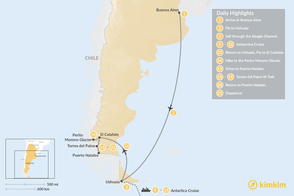 Map of Patagonia Adventure with Classic Antarctic Cruise - 21 Days