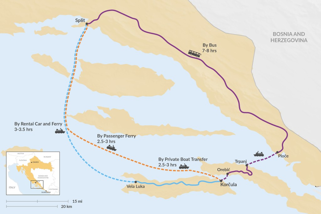 Map of How to Get from Split to Korčula