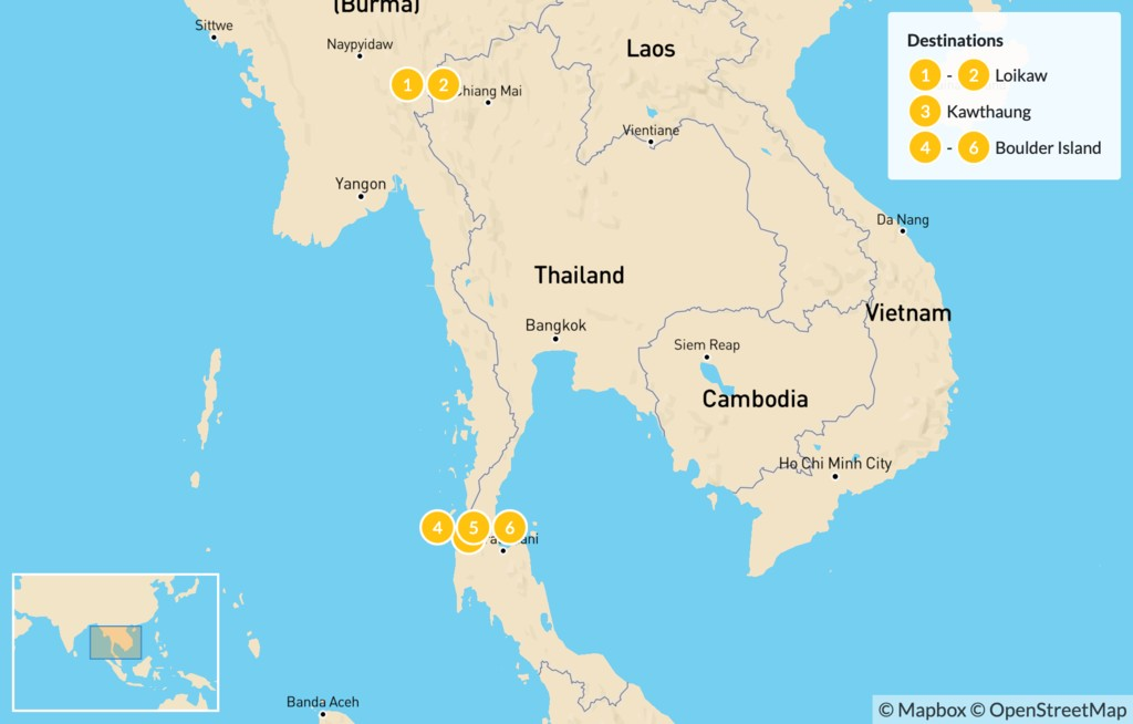 Map of Highlights of Myanmar - 10 Days