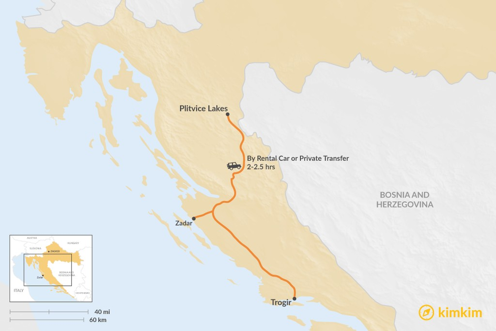 Map of How to Get from Trogir to Plitvice Lakes National Park