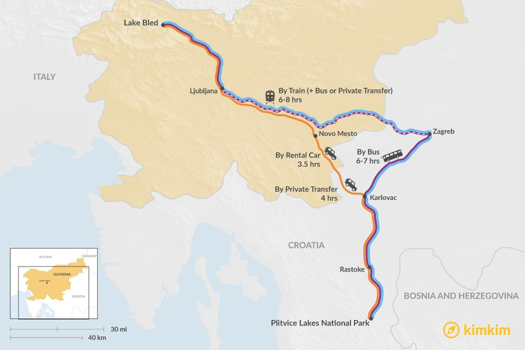 Map of How to Get from Lake Bled to Plitvice Lakes National Park
