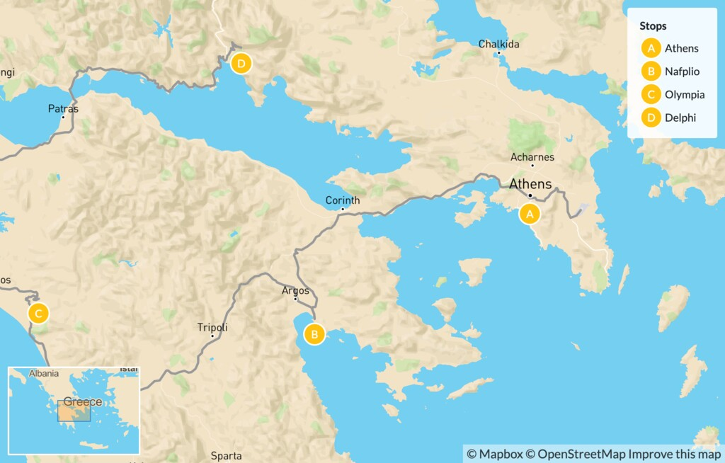 Map of Greek History, Nature, and Culture for Families: Athens & the Peloponnese - 10 Days