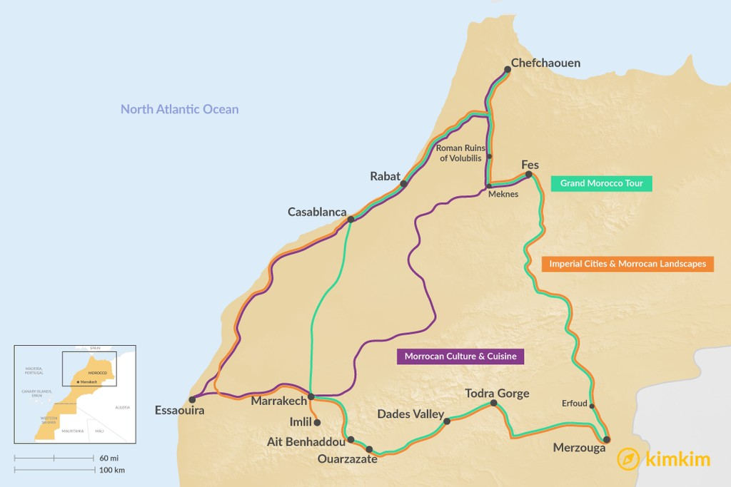 Map of 13 Days in Morocco - 3 Unique Itineraries