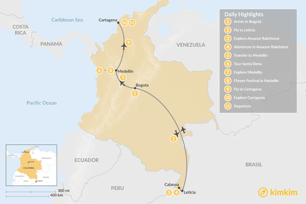 Map of Cartagena, Flower Festival, and the Colombian Amazon - 11 Days
