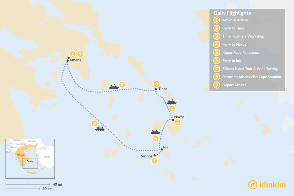 Map of Relaxing Secret Cyclades - 9 Days