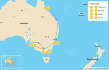 Map thumbnail of The Authentic Aussie Adventure: Melbourne, Adelaide, Sydney, & Cairns - 10 Days
