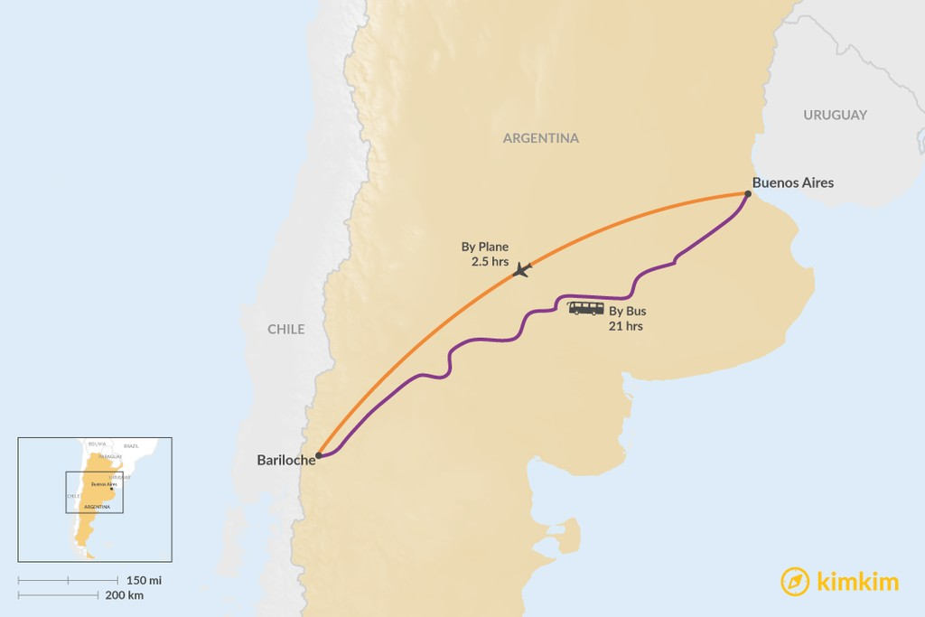Map of How to Get from Buenos Aires to Bariloche