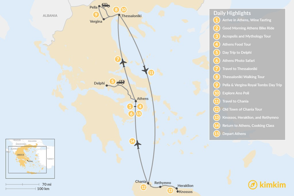 Map of Discover Athens, Thessaloniki & Crete - 15 Days