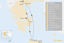 Map thumbnail of Discover Athens, Thessaloniki & Crete - 15 Days