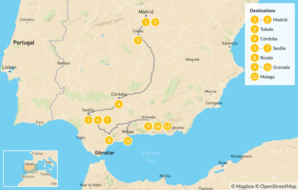 Map of Ultimate Southern Spain Road Trip: Madrid to Andalusia - 13 days