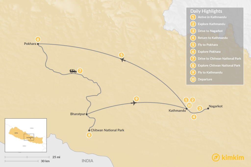 Map of Nepal's Golden Triangle - 10 Days