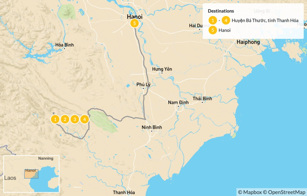 Map of Hiking in Vietnam's Pu Luong Nature Reserve - 5 Days