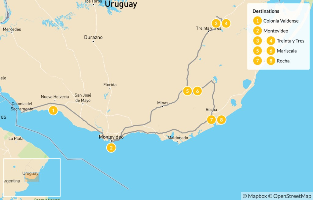 Map of Uruguay Self-Drive Adventure - 9 Days