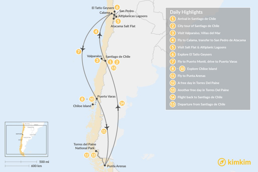 Map of Best of Chile - 15 Days
