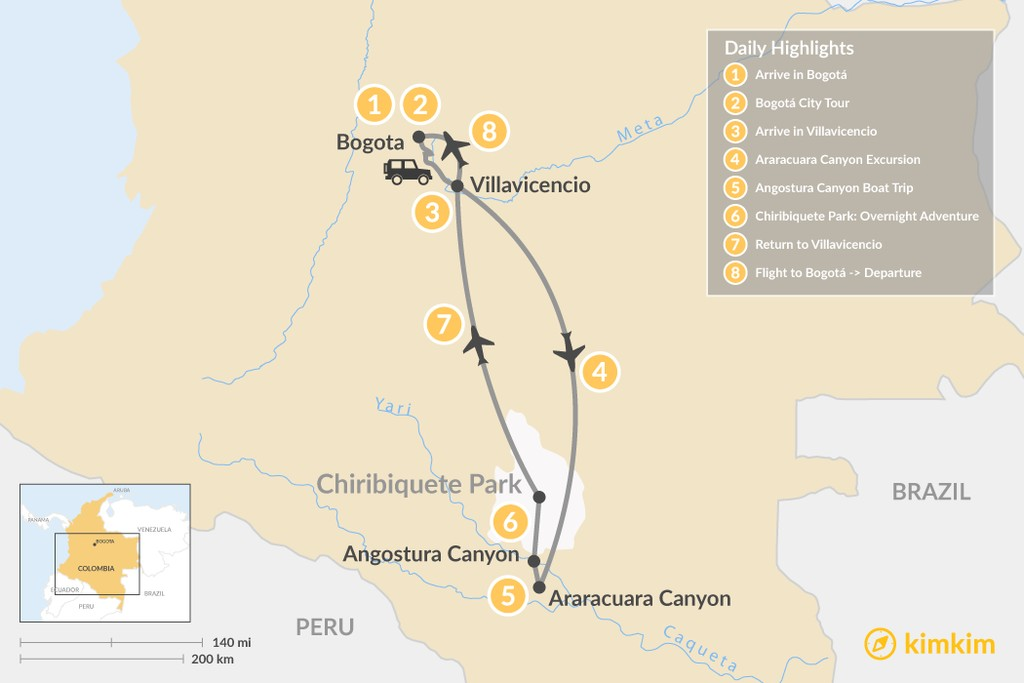 Map of Colombia's Amazon Rainforest & Canyon Tour - 8 Days