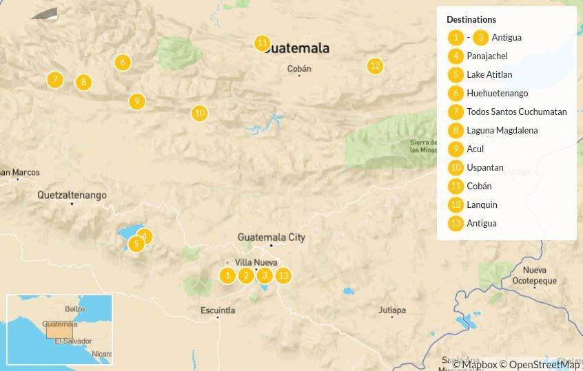 Map of Best of Guatemala by Mountain Bike - 14 Days