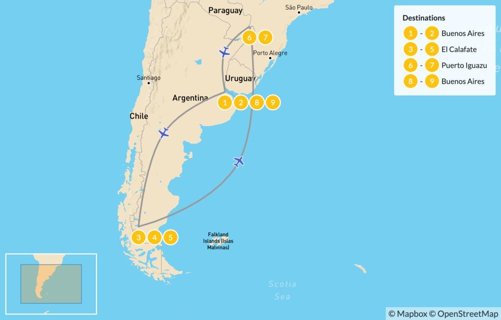 Map of Classic Argentina: Patagonia & Iguazú - 10 Days