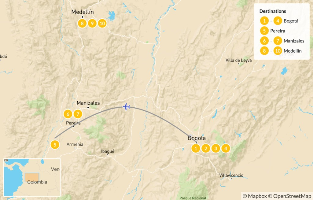 Map of Colombia's Cities & Zona Cafetera Trek - 15 Days