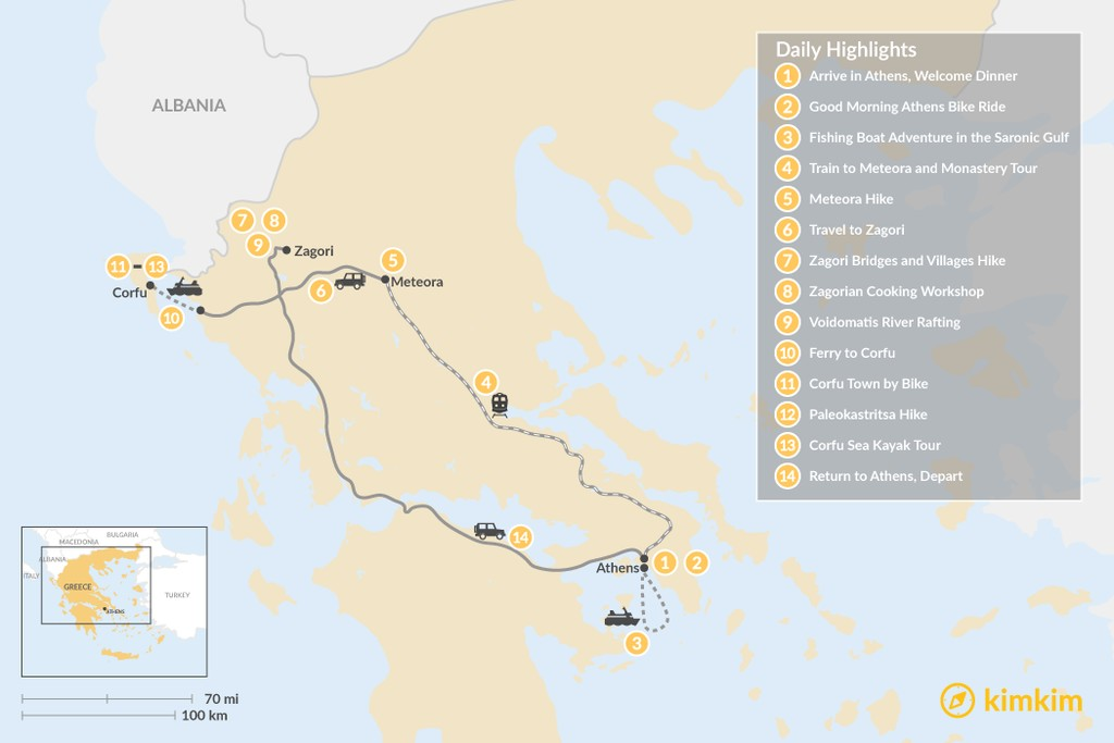 Map of Adventurous Athens, Central Greece, and Corfu - 14 Days