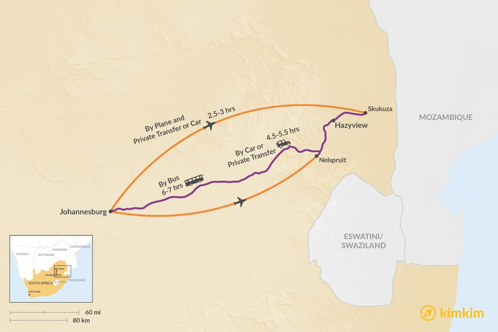 Map of How to Get from Johannesburg to Hazyview
