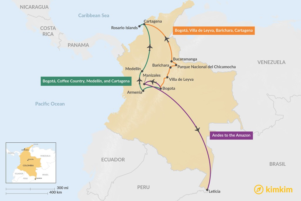 Map of 10 Days in Colombia: 3 Family Travel Itineraries