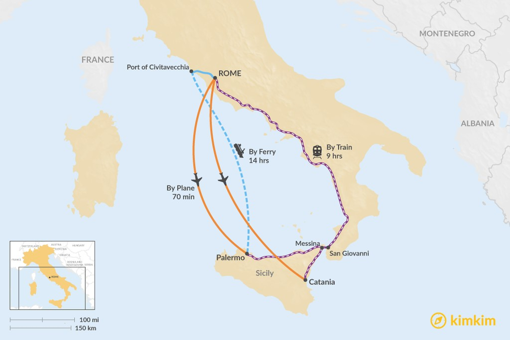Map of How to Get from Rome to Sicily