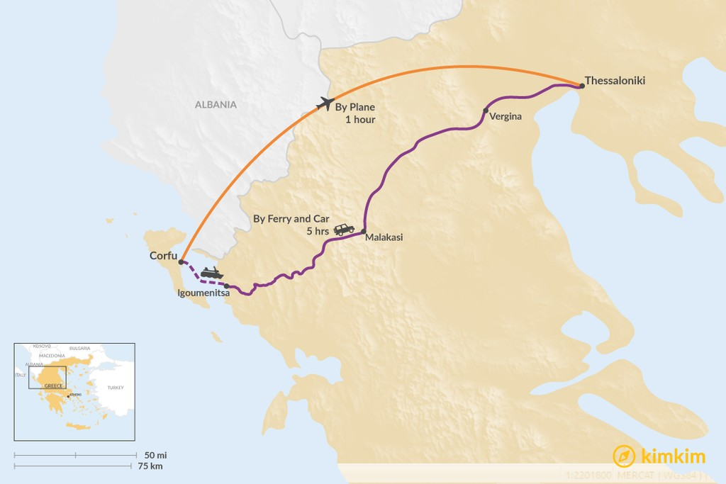 Map of How to Get from Corfu to Thessaloniki