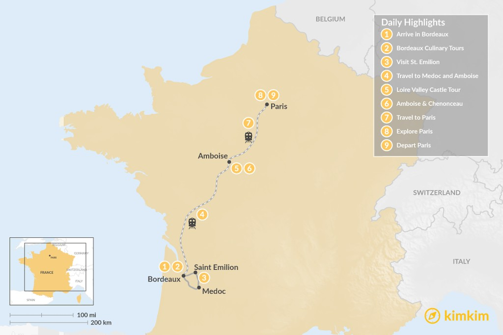 Map of Highlights of France in Paris, Bordeaux & the Loire Valley - 9 Days