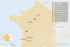 Map thumbnail of Highlights of France in Paris, Bordeaux & the Loire Valley - 9 Days