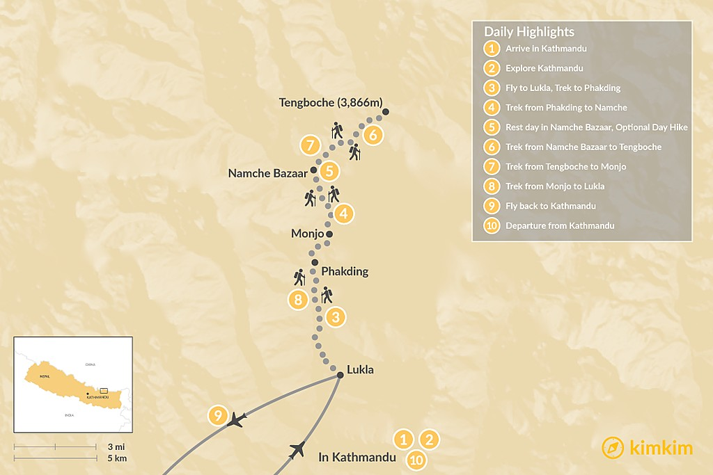 Map of Tengboche Monastery Trek - 10 Days