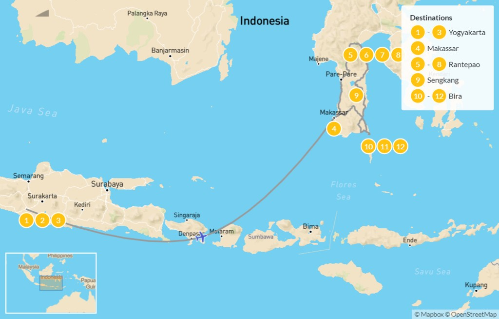 Map of Temples & Tradition in Java & Sulawesi - 13 Days