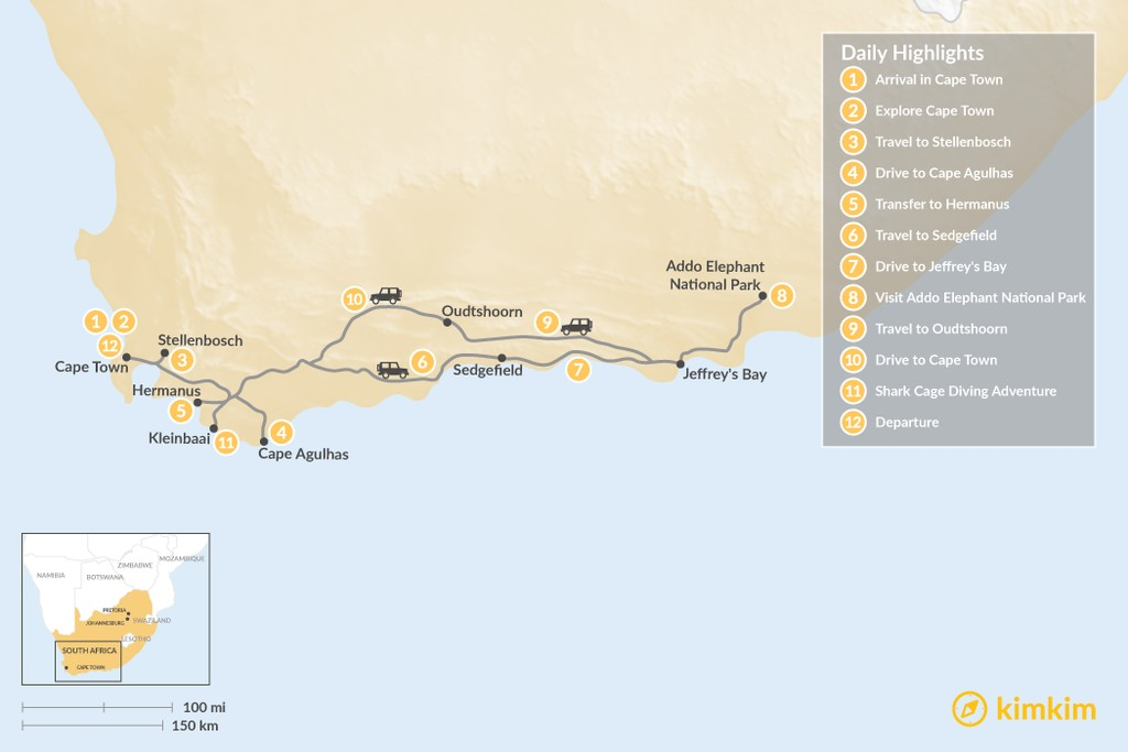 Map of Cape Town & Garden Route Adventure - 12 Days