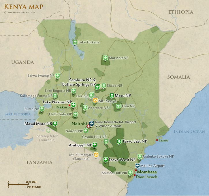 Map of Running Experience in Kenya: Iten, Masai Mara, & Diani Beach - 10 Days