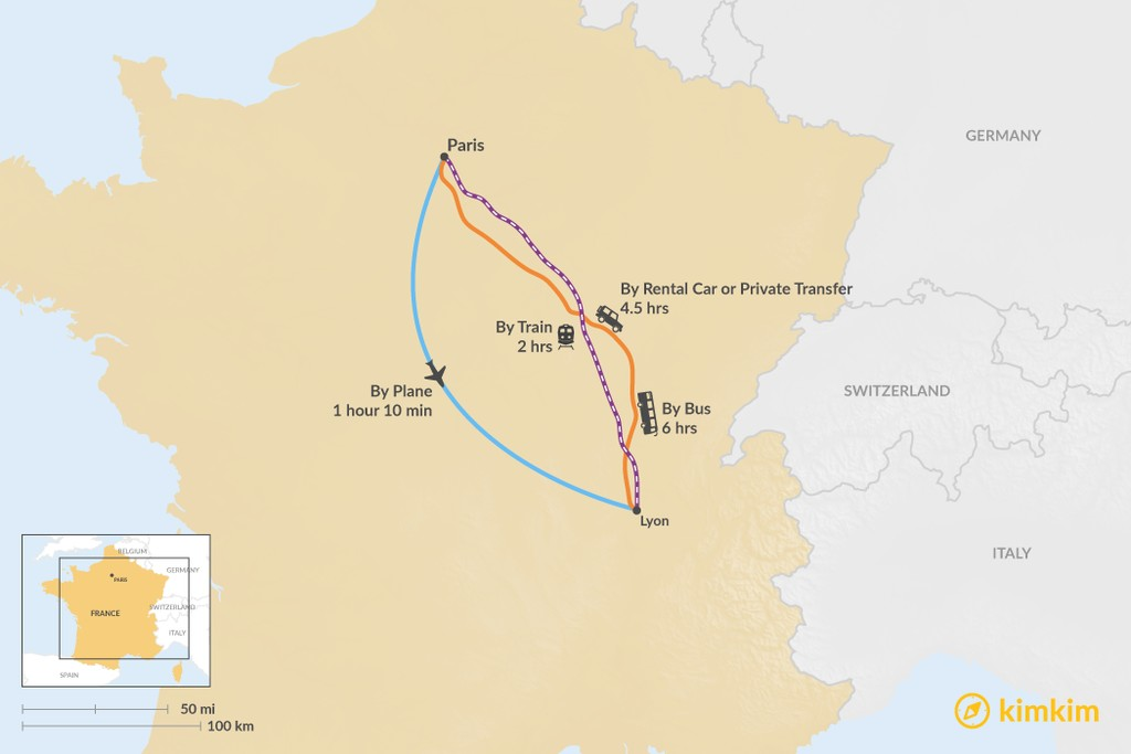Map of How to Get from Paris to Lyon