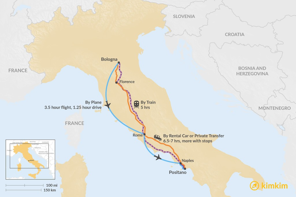 Map of How to Get from Bologna to Positano
