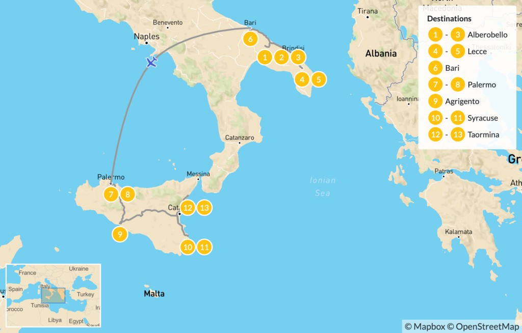 Map of Puglia & Sicily Highlights - 14 Days