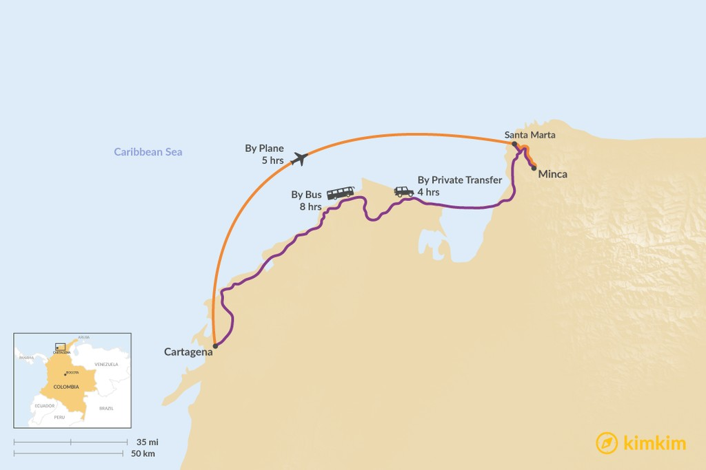 Map of How to Get from Cartagena to Minca