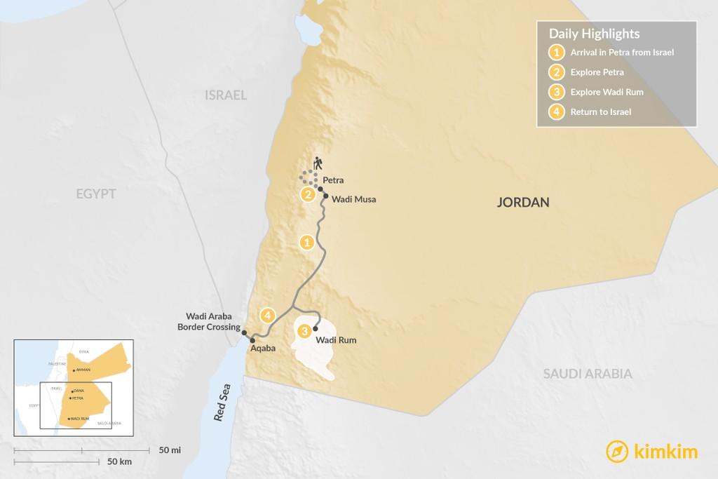 Map of Jordan from Israel: Petra & Wadi Rum - 4 Days