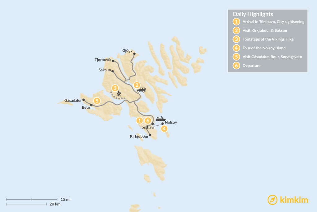 Map of Highlights of the Faroe Islands - 6 Days