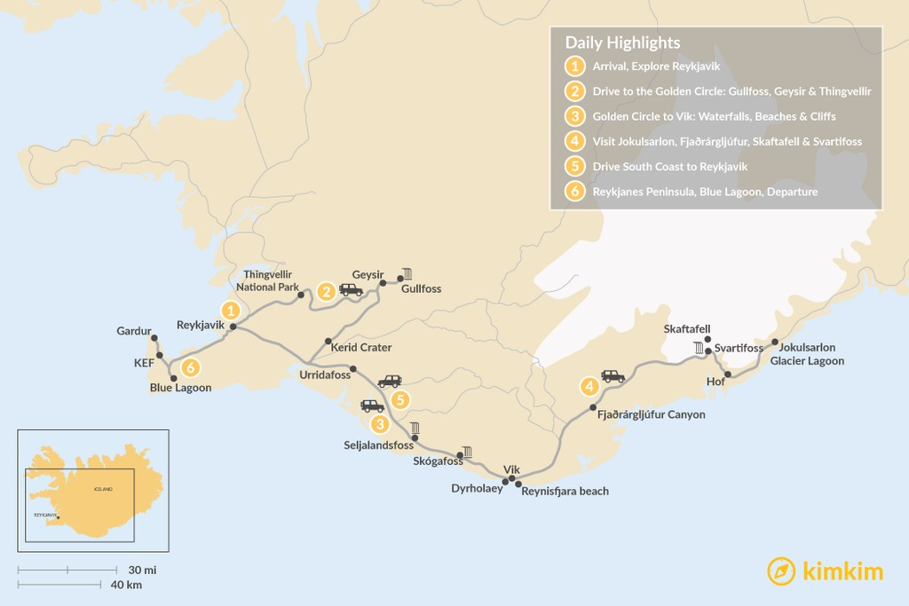 Map of Iceland South Coast Family Road Trip - 6 Days