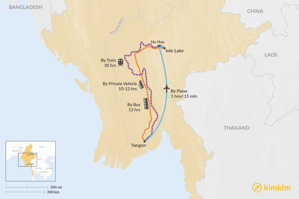 Map of How to Get from Yangon to Inle Lake